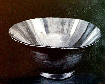 Sterling Silver Painting - Silver Bowl by Deb Wolf