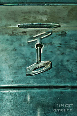 Silver Box With Key In The Lock Art Print by HD Connelly