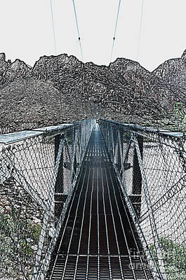 Digital Art - Silver Bridge Over Colorado River At Bottom Of Grand Canyon National Park Bw Colored Pencile by Shawn O'Brien
