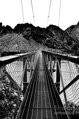 Grand Canyon Digital Art - Silver Bridge Over Colorado River At Bottom Of Grand Canyon National Park Conte Crayon by Shawn O'Brien