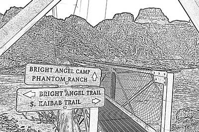 Digital Art - Silver Bridge Signs Over Colorado River At Bottom Of Grand Canyon National Park Bw Line Art by Shawn O'Brien