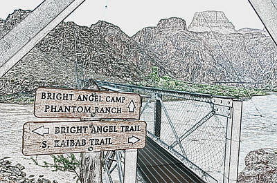 Great Outdoors Digital Art - Silver Bridge Signs Over Colorado River At Bottom Of Grand Canyon National Park Colored Pencil by Shawn O'Brien