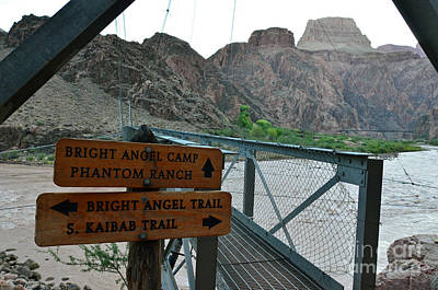 Photograph - Silver Bridge Signs Over Colorado River At Bottom Of Grand Canyon National Park by Shawn O'Brien