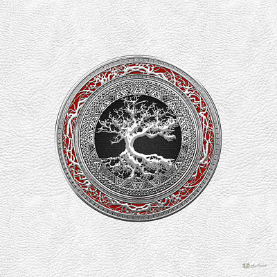 Digital Art - Silver Celtic Tree Of Life On White Leather by Serge Averbukh
