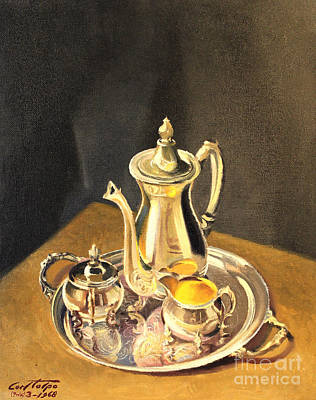 Painting - Silver Coffee Set by Art By Tolpo Collection