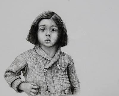 Sad Girl Drawing Drawing - Silver Cross by Jean Cormier