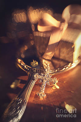 Photograph - Silver Cross Laying On Mirror by Sandra Cunningham