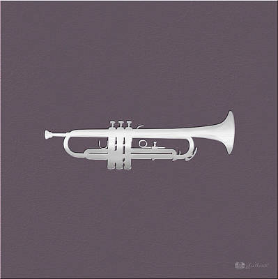 Digital Art - Silver Embossed Trumpet On Rosy Brown Background by Serge Averbukh