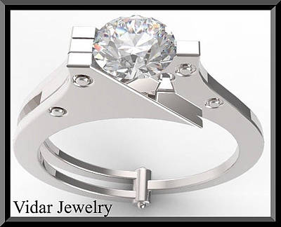 Gemstone Engagement Ring Jewelry - Silver Engagement Ring With White Sapphire by Roi Avidar