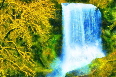 Digital Art - Silver Falls Middle North Falls by Kaylee Mason