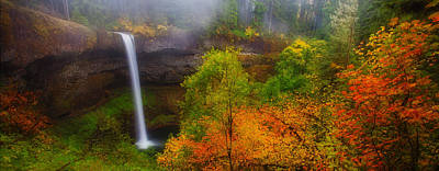 Fall Colors Photograph - Silver Falls Pano by Darren  White