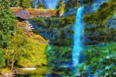 Digital Art - Silver Falls South Falls by Kaylee Mason