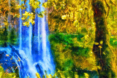 Digital Art - Silver Falls Winter Falls by Kaylee Mason