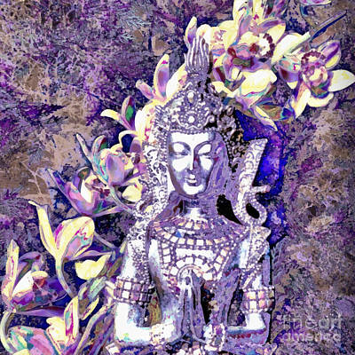 Namaste Mixed Media - Silver Goddess by SiriSat