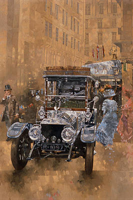 Car Painting - Silver Grace At The Savoy by Peter Miller