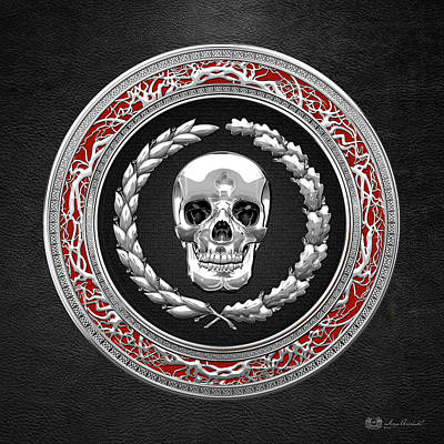 Digital Art - Silver Human Skull On Black   by Serge Averbukh