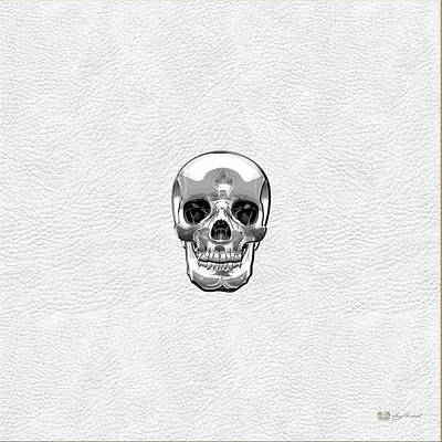 Digital Art - Silver Human Skull On White Leather by Serge Averbukh