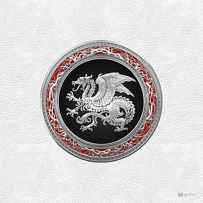 Digital Art - Silver Icelandic Dragon On White Leather by Serge Averbukh