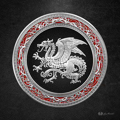 Digital Art - Silver Icelandic Dragon  by Serge Averbukh