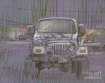 Jeep Drawing - Silver Jeep by Donald Maier