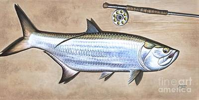 Tarpon Drawing - Silver King Beach by Johnny Widmer