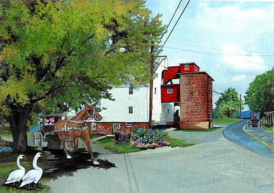 Horse And Buggy Painting - Silver Lake Mill Summer by Joan Shaver