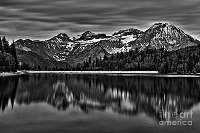 Silver Lake Reflection Black And White Art Print