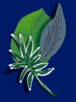 Art Print featuring the digital art Silver Leaf And Fern II by Christine Fournier
