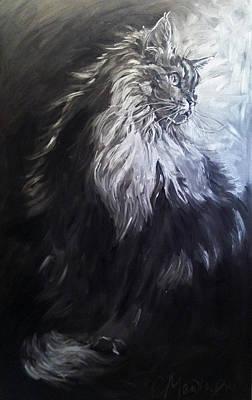 Painting - Cat Portrait Painting. Big Cat Series Silver Light by Christine Montague