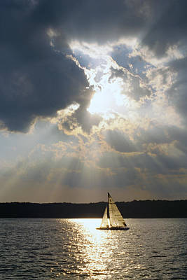 Sailboat Photograph - Silver Lining - Lake Geneva Wisconsin by Bruce Thompson