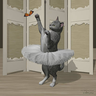 Silver Mau Ballet Cat On Paw-te Art Print by Andre Price