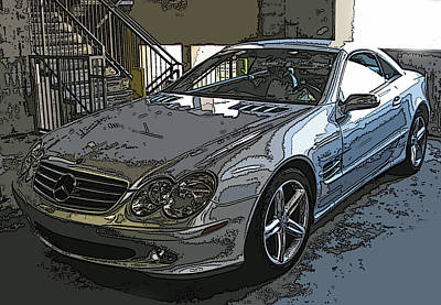 Photograph - Silver Mercedes Benz Sl500 by Samuel Sheats