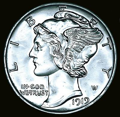 Drawing - Black Silver Mercury Dime by Fred Larucci