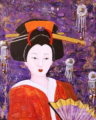 Painting - Silver Moon Geisha by Jane Chesnut