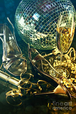 Photograph - Silver Party Shoes On Floor With Champagne Glass  by Sandra Cunningham