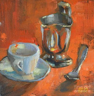 Silver Pitcher Painting - Silver Pitcher And Tea Cup by Barbara Daggett