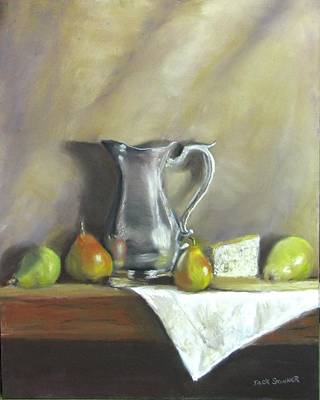 Painting - Silver Pitcher With Pears by Jack Skinner