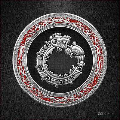 Digital Art - Silver Serpent God Quetzalcoatl by Serge Averbukh