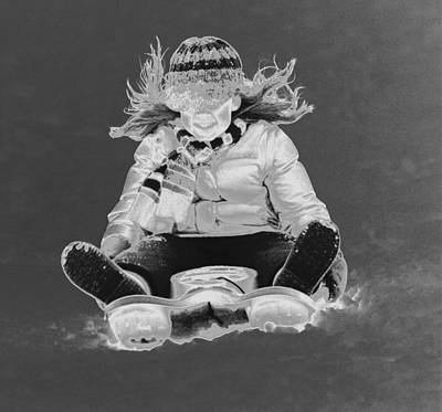 Photograph - Silver Sledding Girl  by Anne Barkley