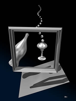 Bottle Digital Art - Silver Space Champagne by Hakon Soreide