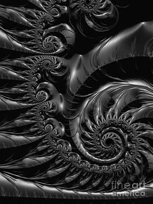 Abstract Movement Digital Art - Silver Spiral  by Heidi Smith