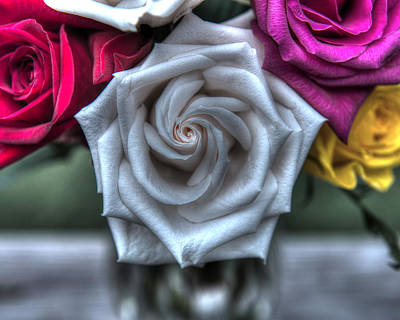 Hager Wall Art - Photograph - Silver Spiral Rose Hdr Creative by Greg Hager