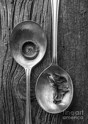 Silver Spoons Black And White Art Print