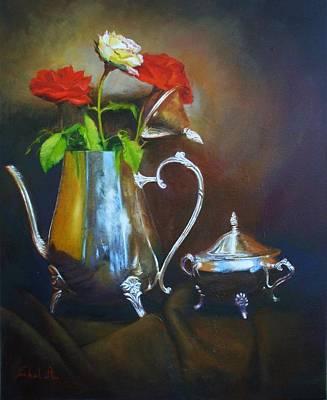 Silver Tea Pot Painting - Silver Tea Pot And Roses by Farhat Ashufta