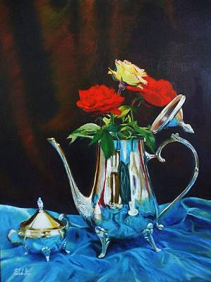 Silver Tea Pot Painting - Silver Tea Pot And Roses With Blue Satin by Farhat Ashufta