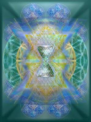 Digital Art - Silver Torquoise Chalicell Ring Flower Of Life Matrix IIi  by Christopher Pringer