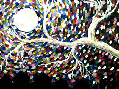 Silver Tree At Night Art Print by Beril Sirmacek