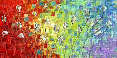 Palette Knife Painting - Silver Tulips by Susanna Shap