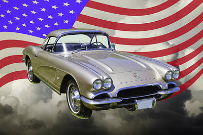 Photograph - Silver 1962 Chevrolet Corvette And American Flag by Keith Webber Jr