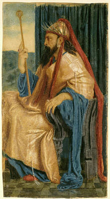 Egg Tempera Drawing - Simeon Solomon, King Solomon, British, 1840 - 1905 by Quint Lox
